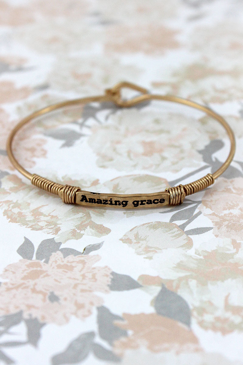 Worn Goldtone Wire-Wrapped 'Amazing Grace' Bar Bracelet