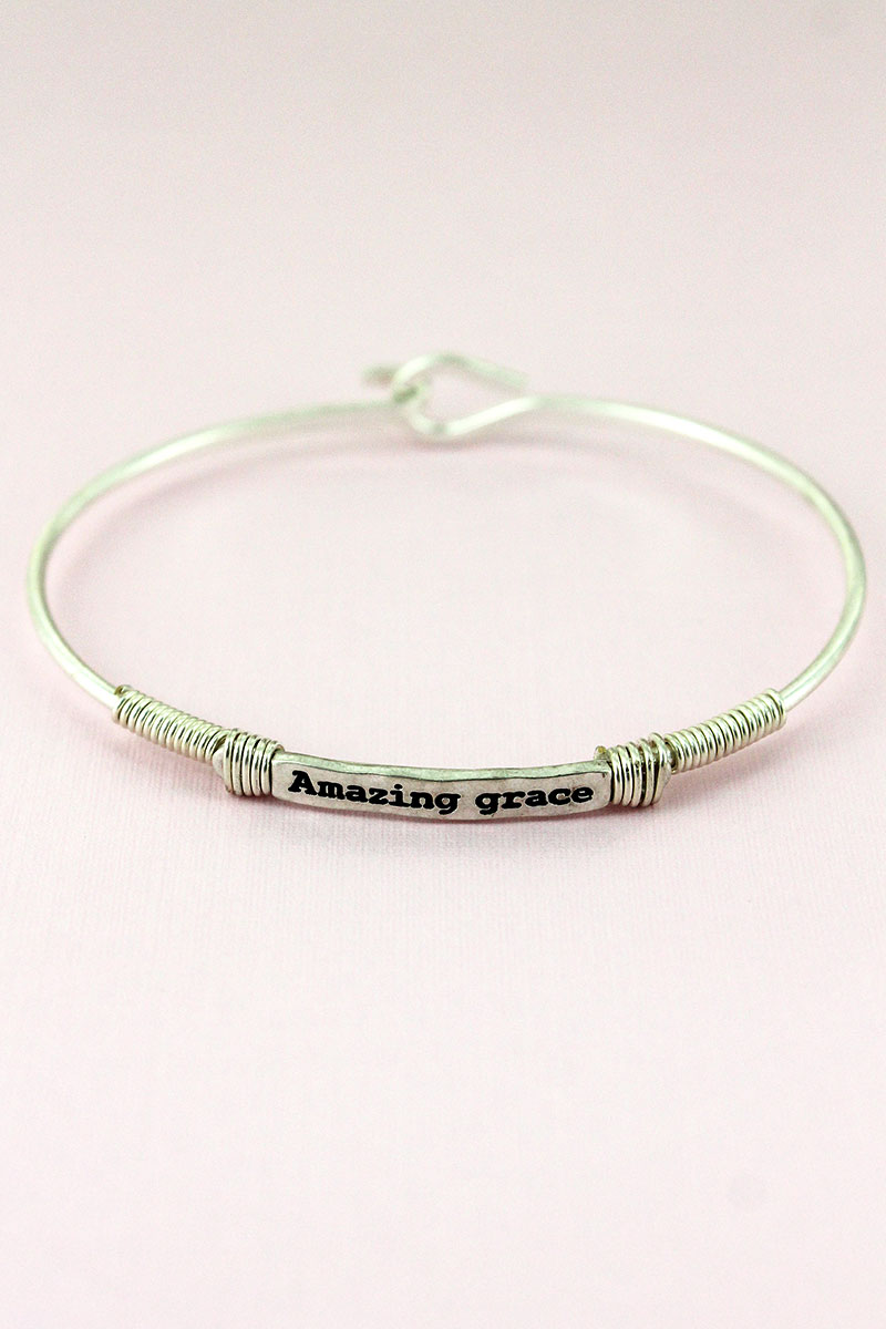 Worn Silvertone Wire-Wrapped 'Amazing Grace' Bar Bracelet
