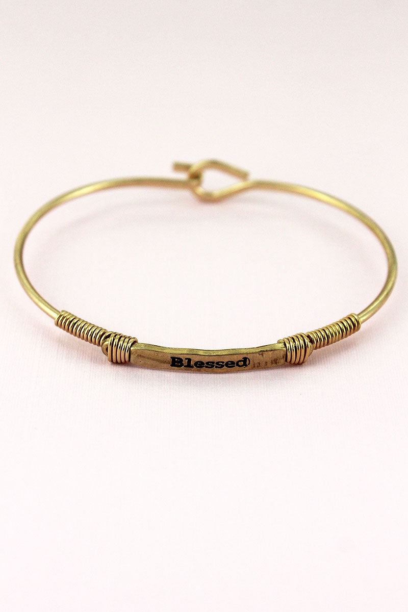 Worn Goldtone Wire-Wrapped 'Blessed' Bar Bracelet