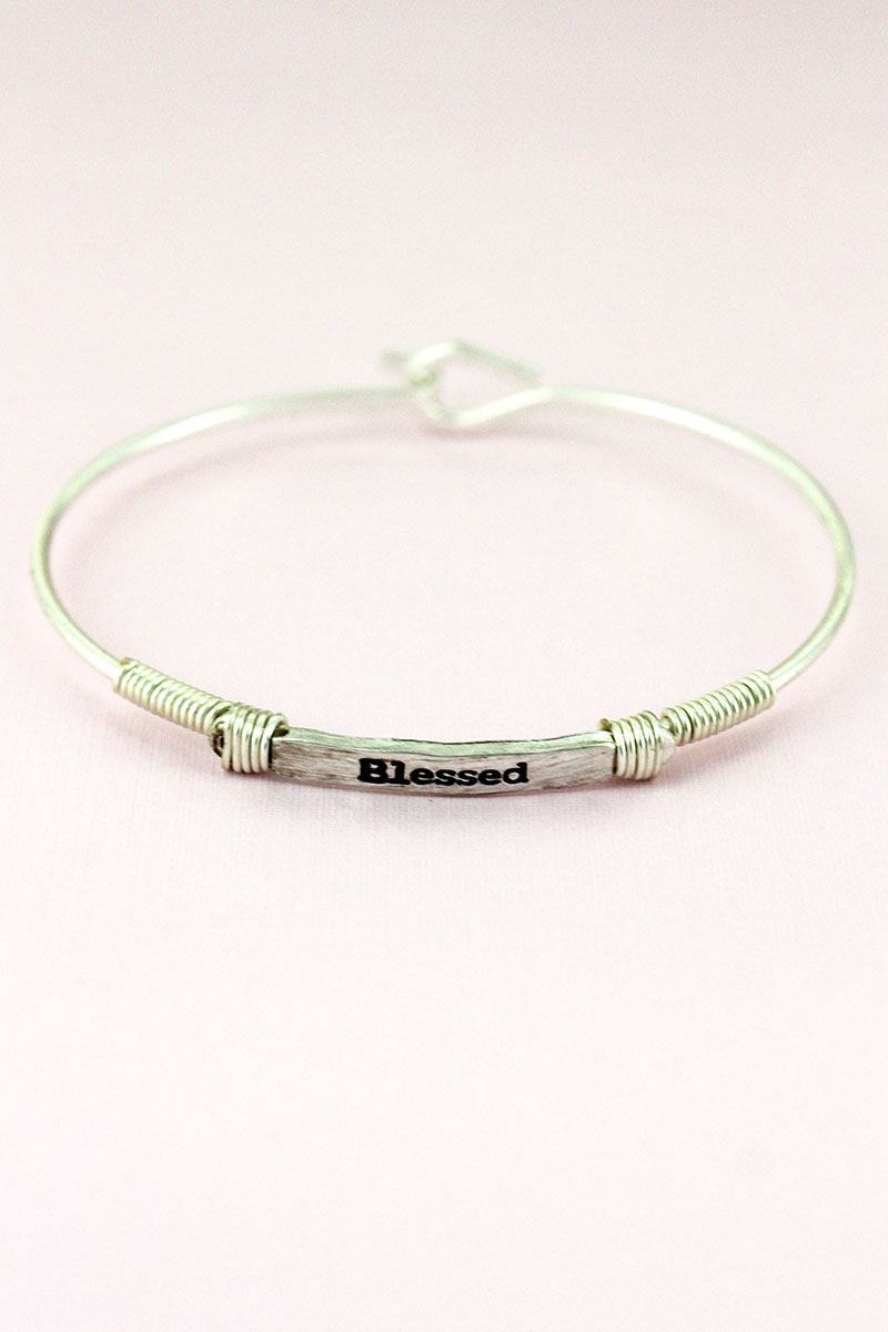 Worn Silvertone Wire-Wrapped 'Blessed' Bar Bracelet