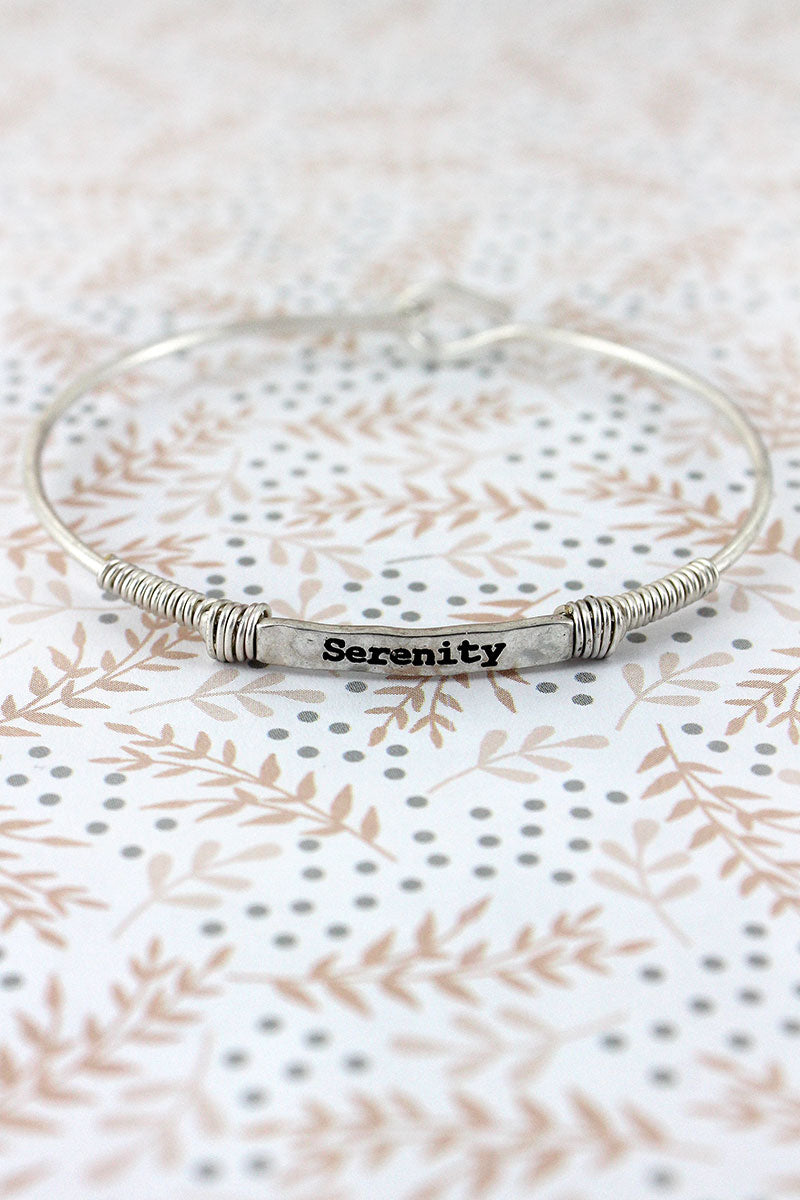 Worn Silvertone Wire-Wrapped 'Serenity' Bar Bracelet