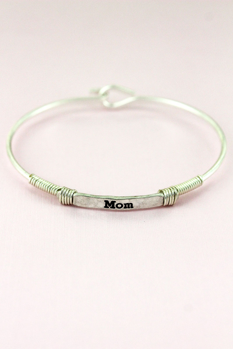Worn Silvertone Wire-Wrapped 'Mom' Bar Bracelet