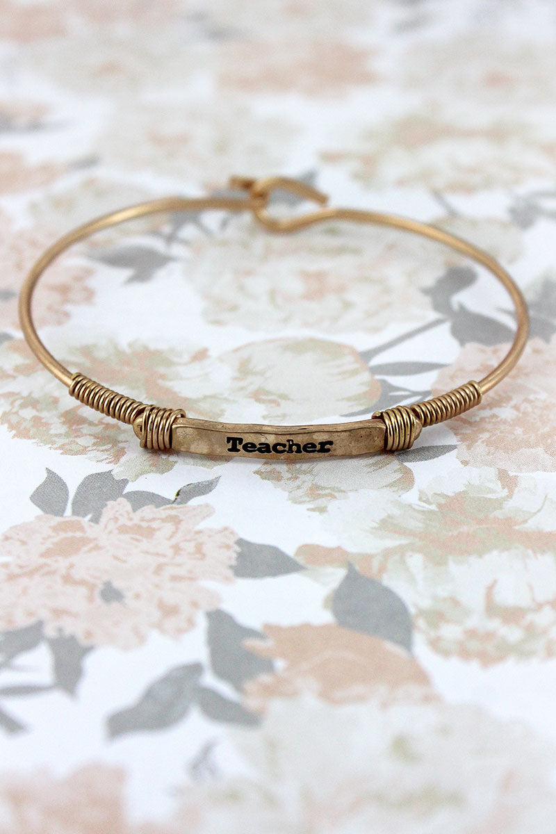 Worn Goldtone Wire-Wrapped 'Teacher' Bar Bracelet