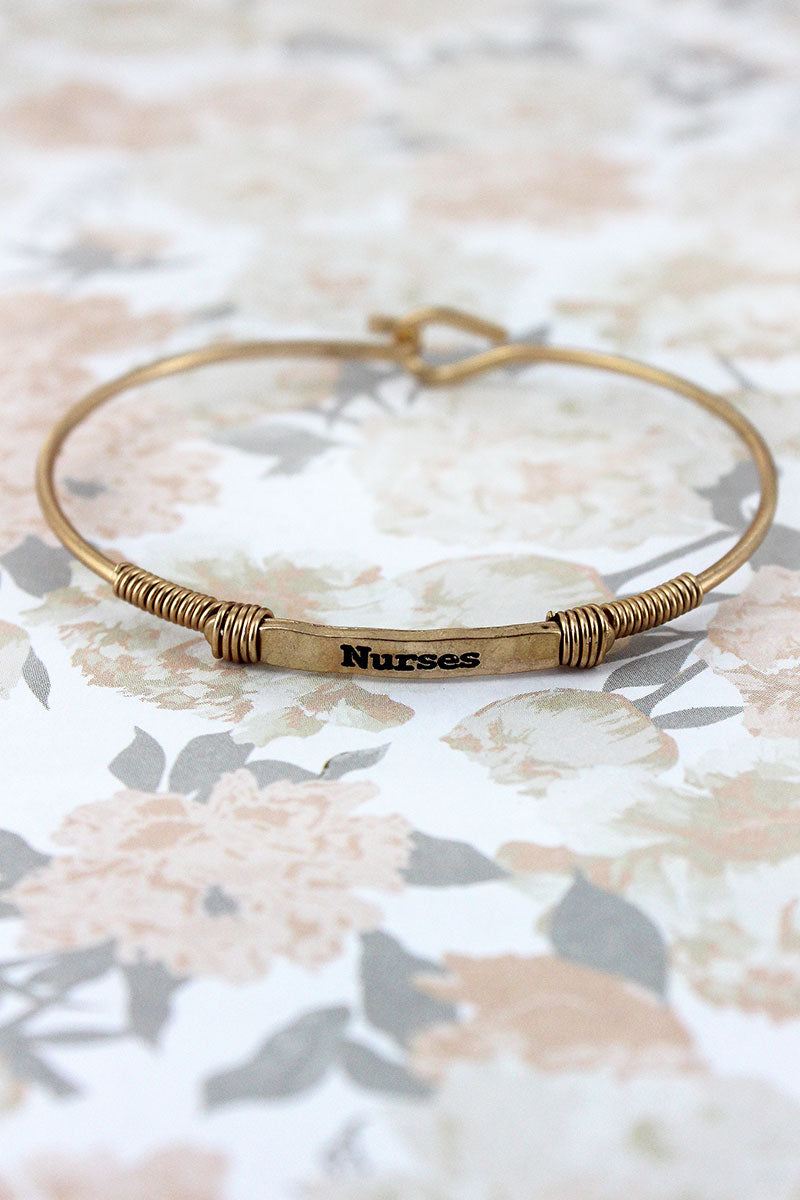 Worn Goldtone Wire-Wrapped 'Nurses' Bar Bracelet