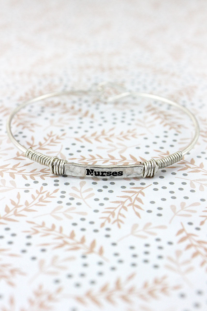 Worn Silvertone Wire-Wrapped 'Nurses' Bar Bracelet