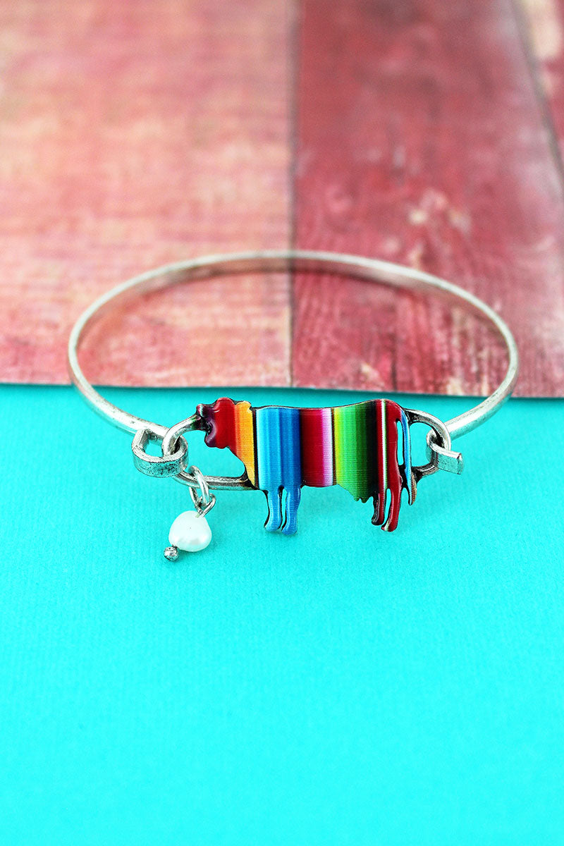 Serape Cow Burnished Silvertone Bracelet