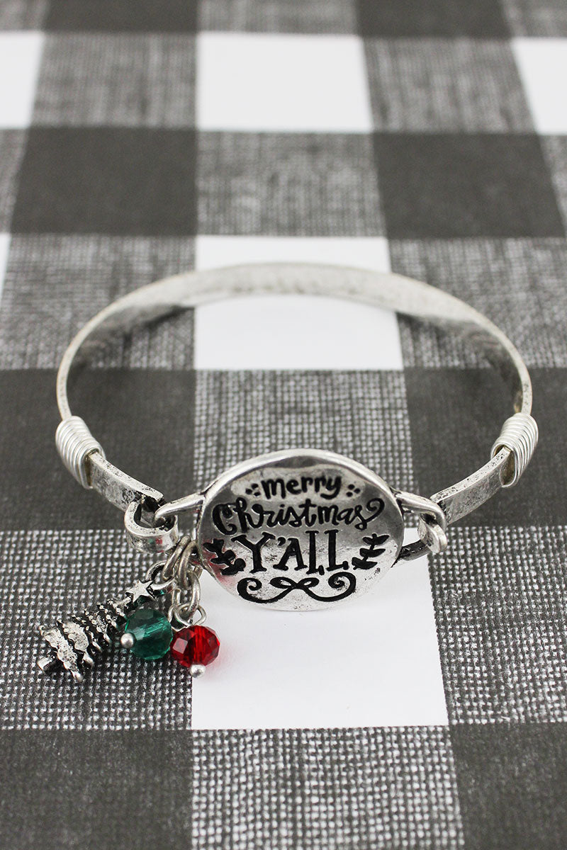 Burnished Silvertone 'Merry Christmas Y'all' Bracelet