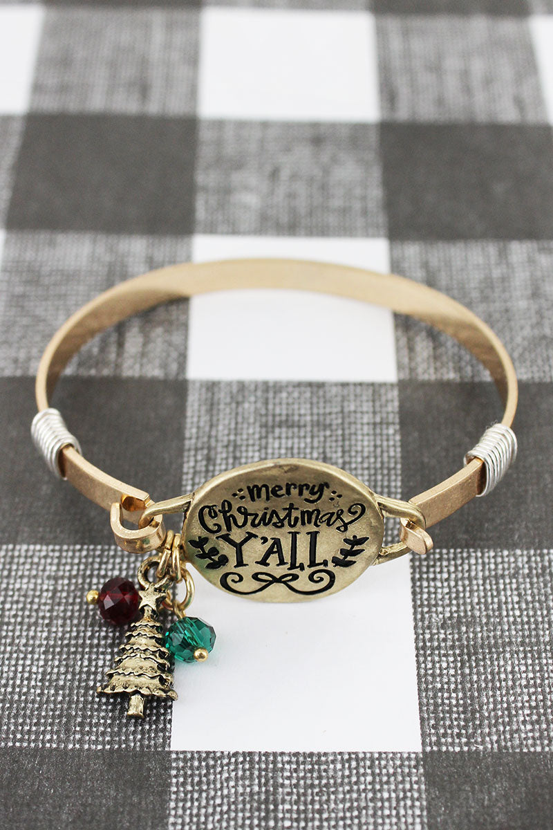 Worn Goldtone 'Merry Christmas Y'all' Bracelet