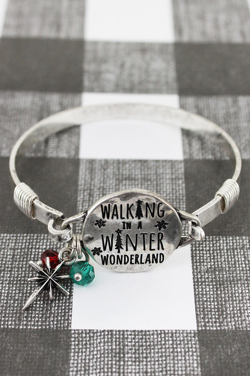 Burnished Silvertone 'Walking In A Winter Wonderland' Bracelet