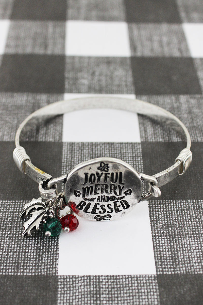 Burnished Silvertone 'Joyful Merry And Blessed' Bracelet