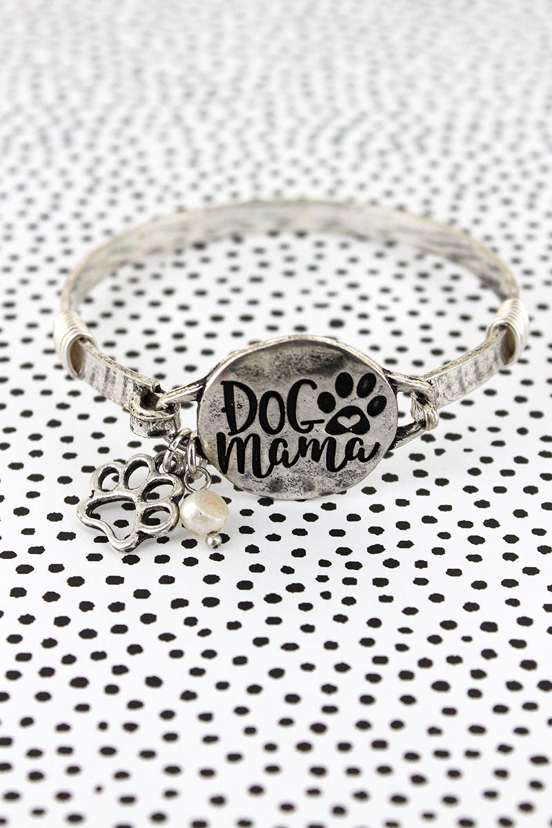 Burnished Silvertone 'Dog Mama' Bracelet