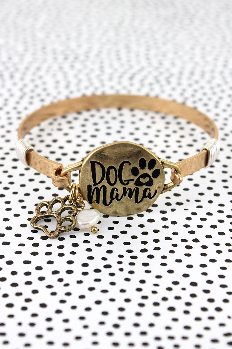 Worn Goldtone 'Dog Mama' Bracelet