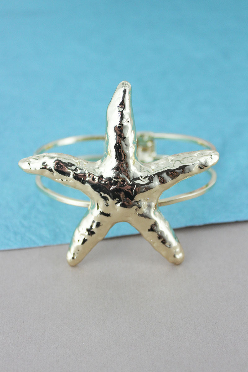 SALE! Hammered Goldtone Starfish Hinge Bracelet