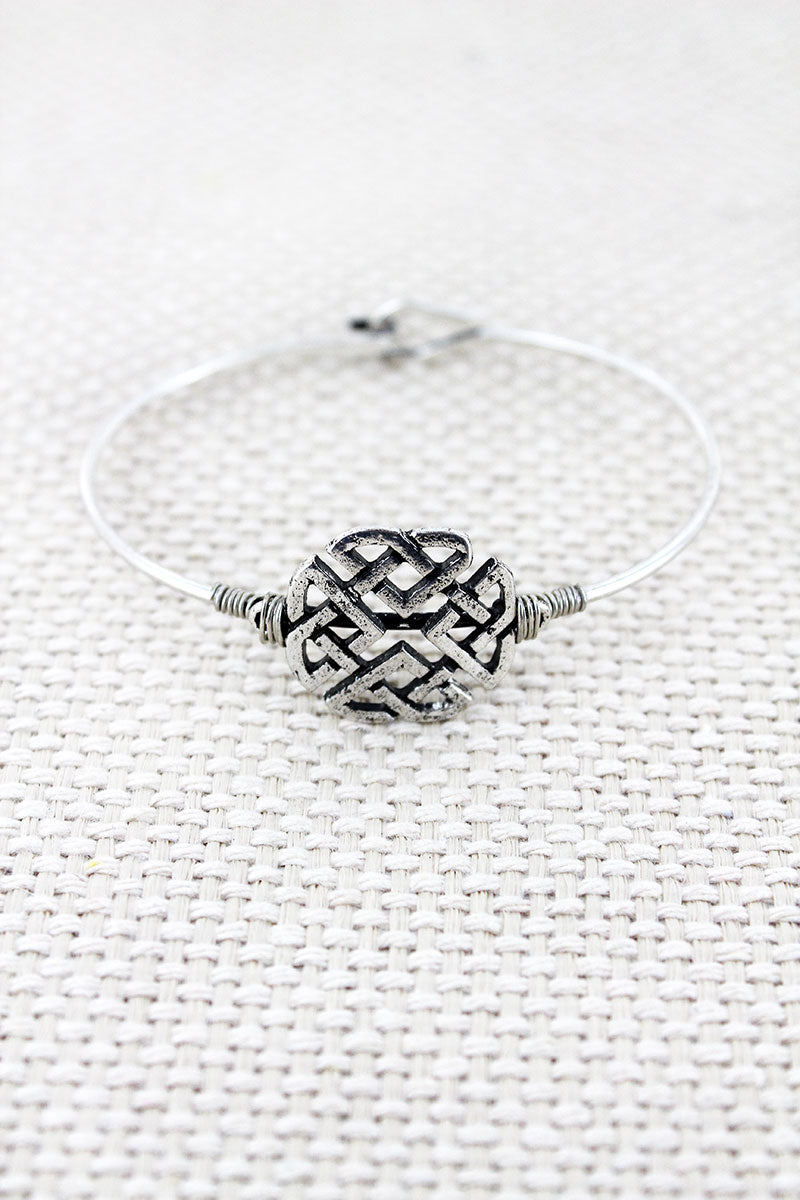Burnished Silvertone Celtic Knot Disk Bracelet