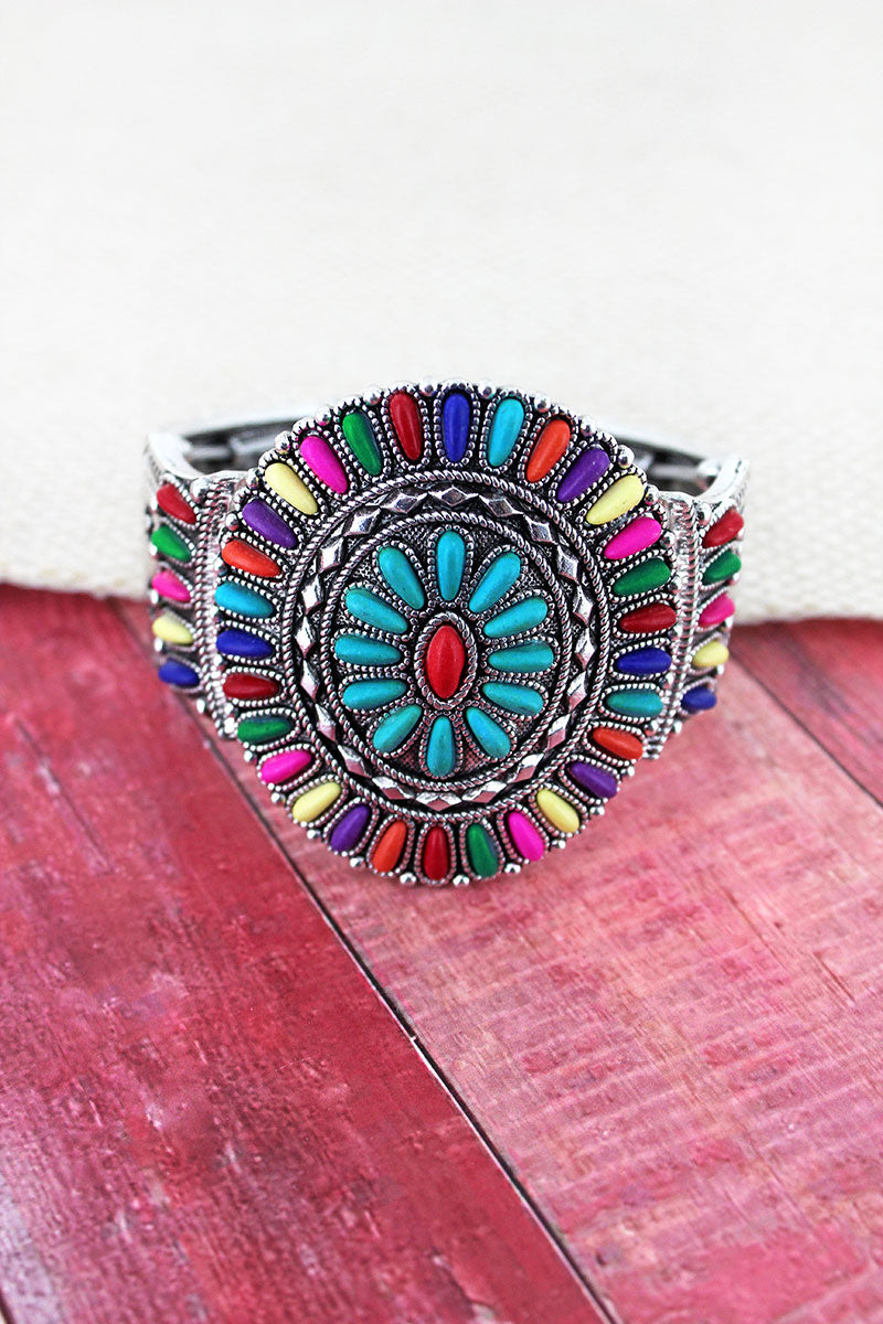 Multi-Color Beaded Western Medallion Stretch Bracelet