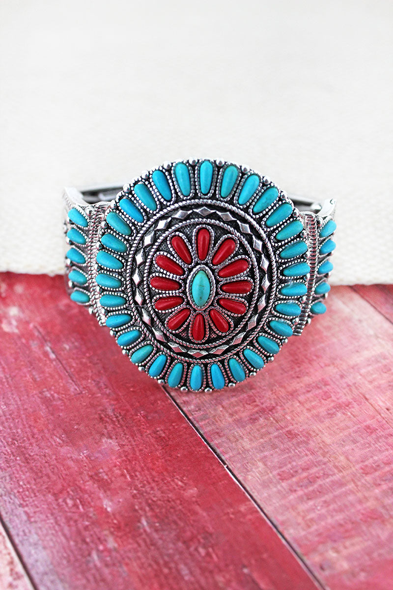 Turquoise and Coral Beaded Western Medallion Stretch Bracelet