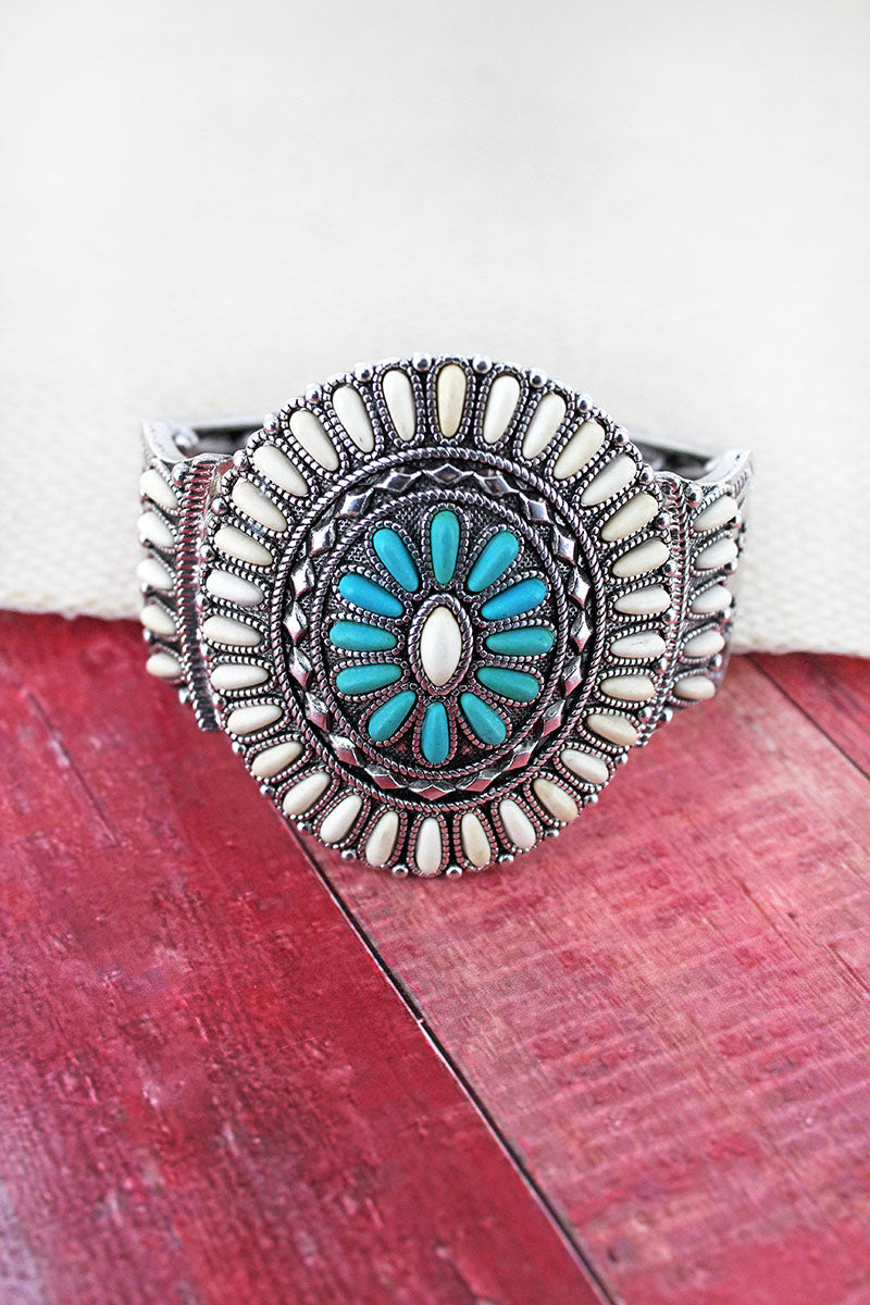 White and Turquoise Beaded Western Medallion Stretch Bracelet