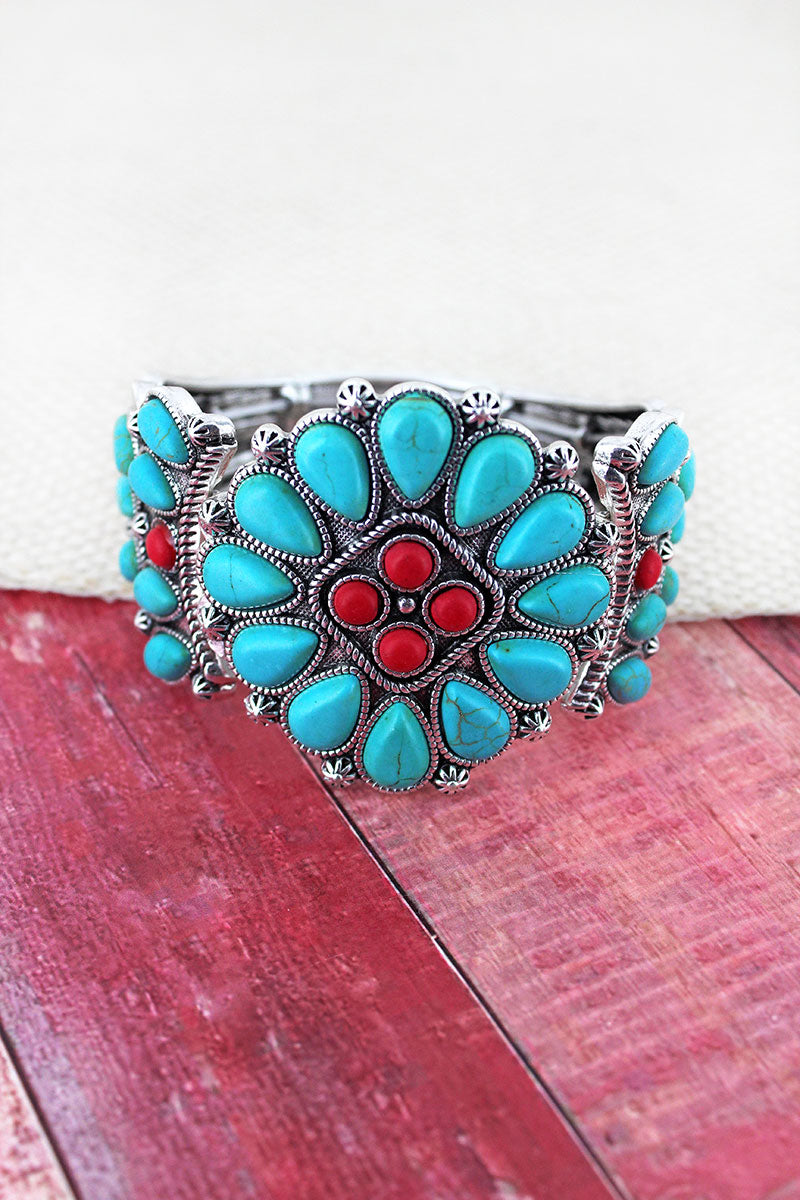Turquoise and Coral Beaded Western Diamond Stretch Bracelet
