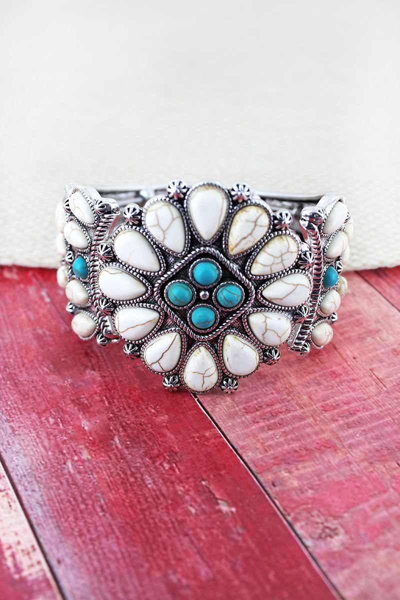 White and Turquoise Beaded Western Diamond Stretch Bracelet