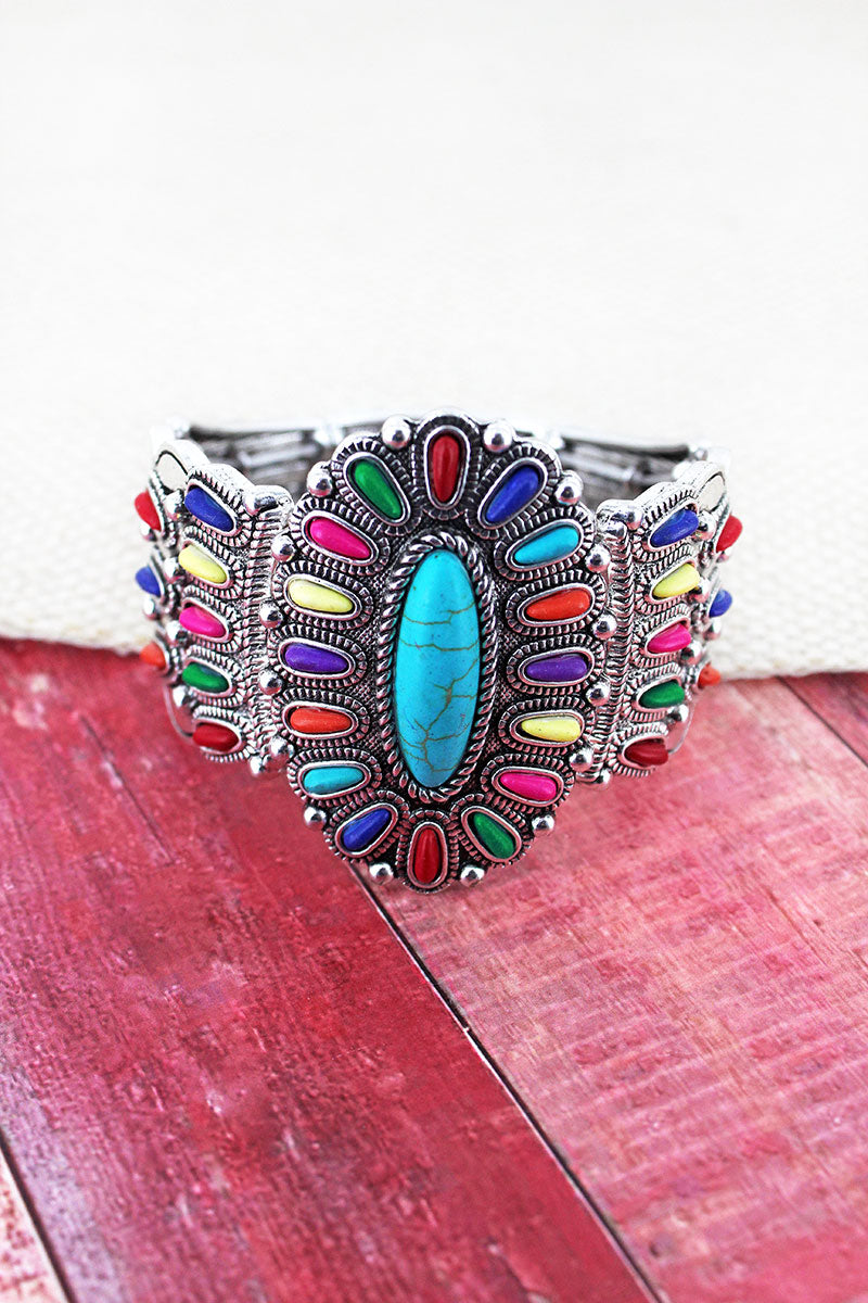 Multi-Color Beaded Western Oval Stretch Bracelet