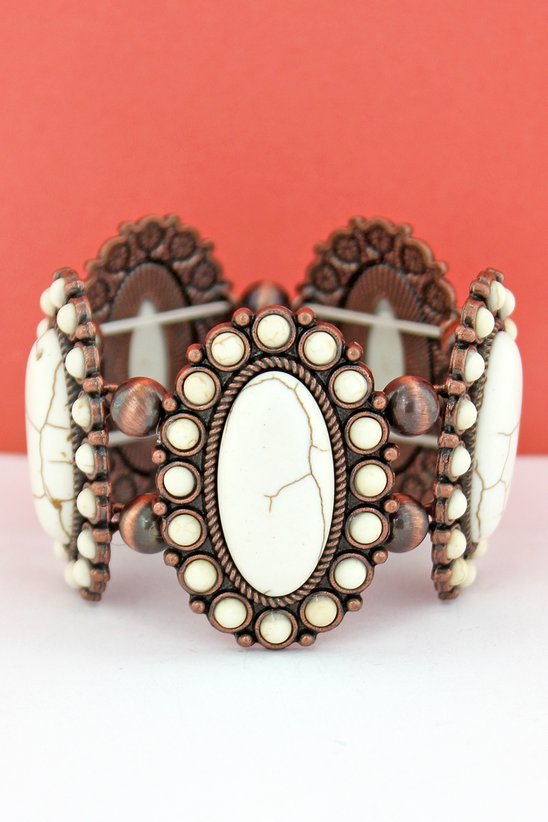 White Oval Stone Flower and Navajo Pearl Stretch Bracelet