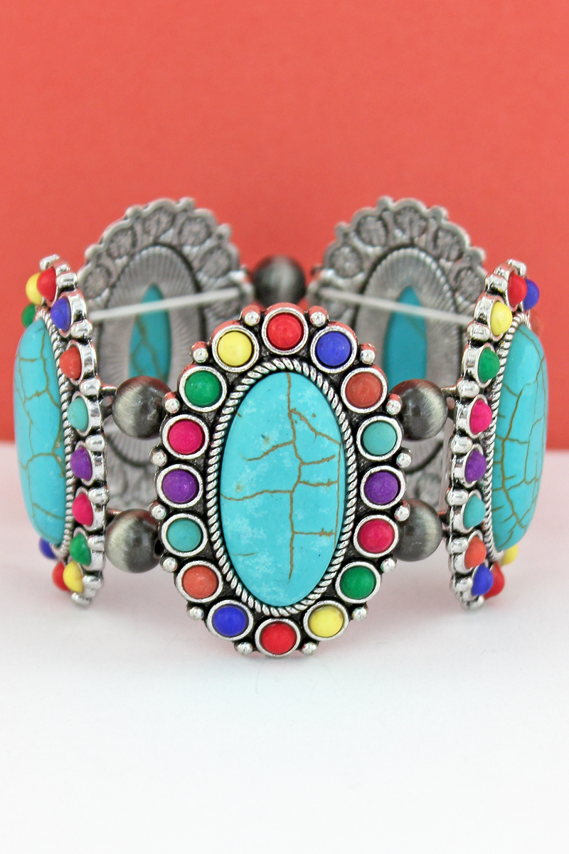 Multi-Color Oval Stone Flower and Navajo Pearl Stretch Bracelet