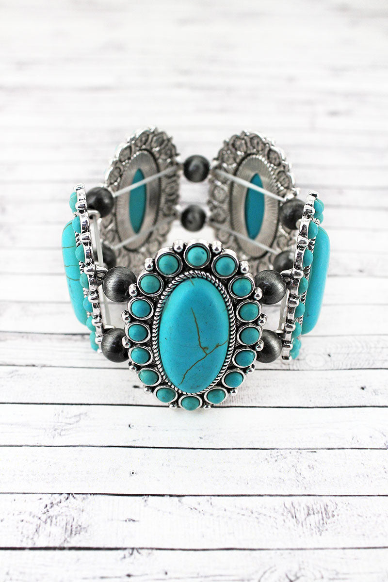 Turquoise Oval Stone Flower and Navajo Pearl Stretch Bracelet