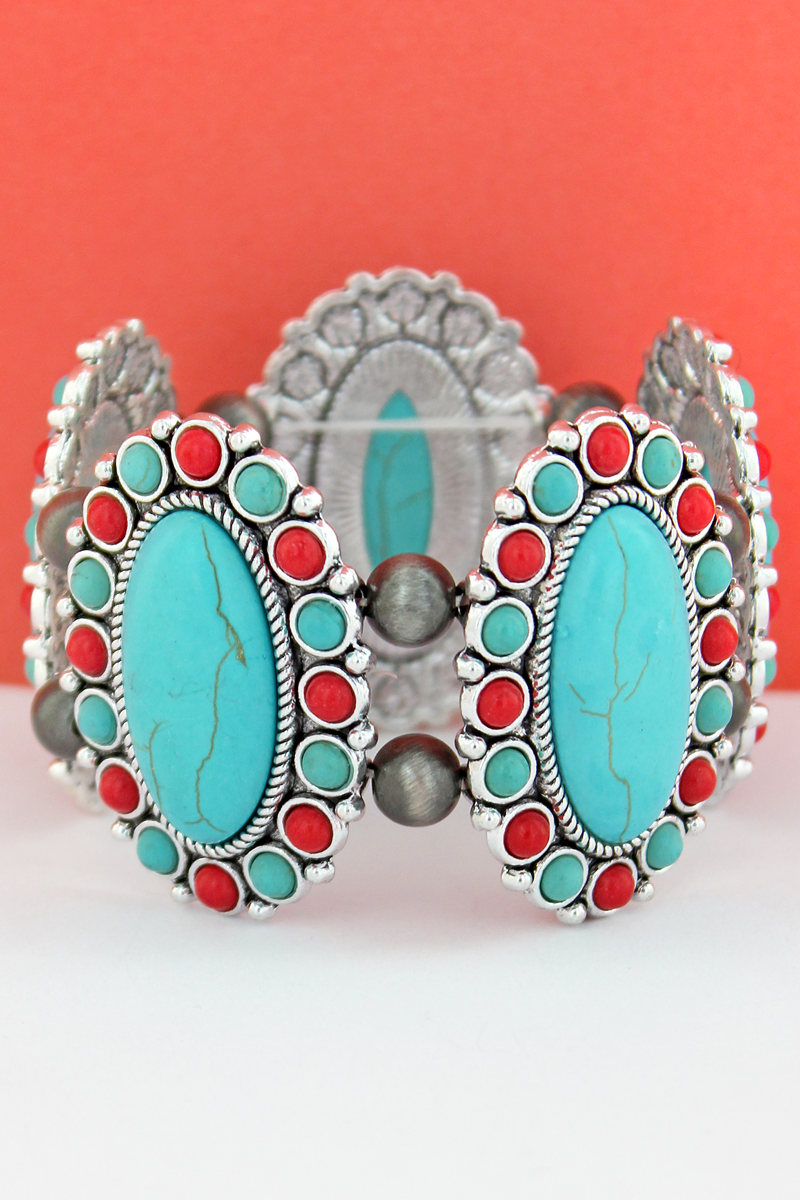Turquoise & Coral Oval Stone Flower and Navajo Pearl Stretch Bracelet