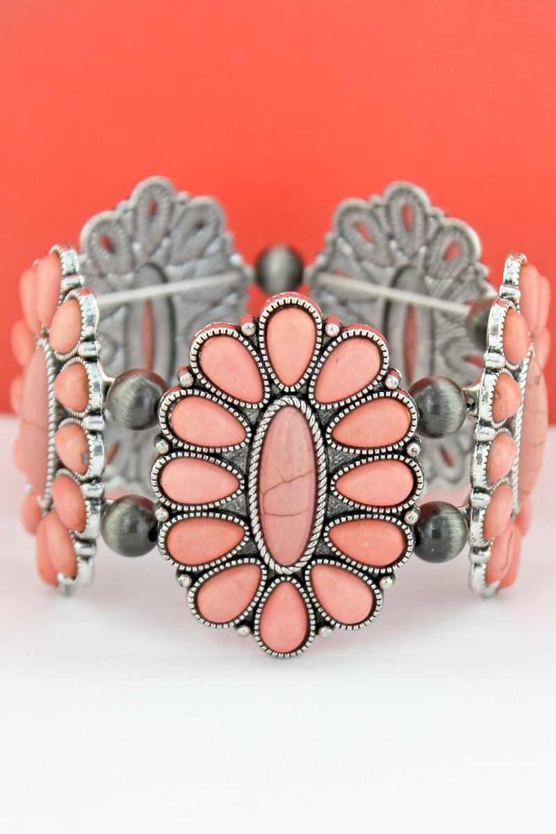 Pink Beaded Oval Flower and Navajo Pearl Stretch Bracelet
