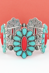 Turquoise & Coral Beaded Oval Flower and Navajo Pearl Stretch Bracelet