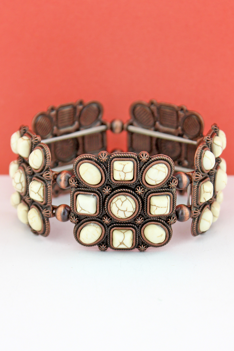 White Geo Beaded Square and Navajo Pearl Stretch Bracelet