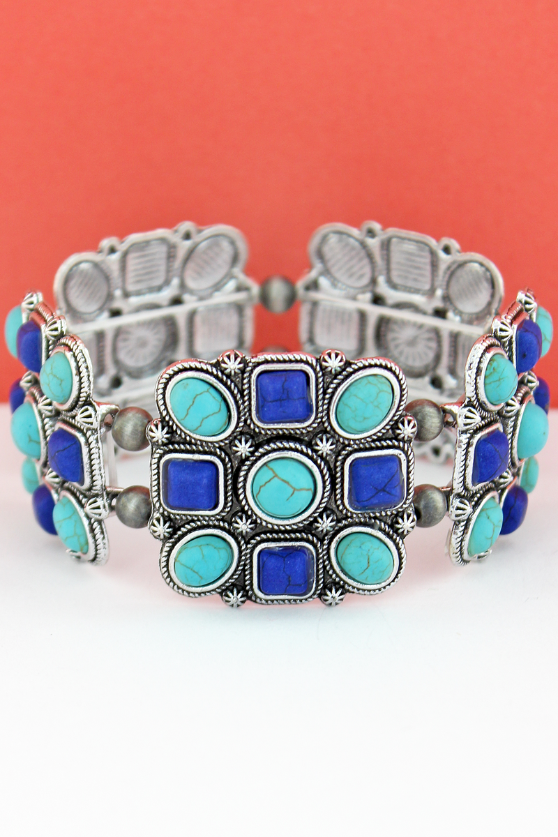 Turquoise & Blue Geo Beaded Square and Navajo Pearl Stretch Bracelet