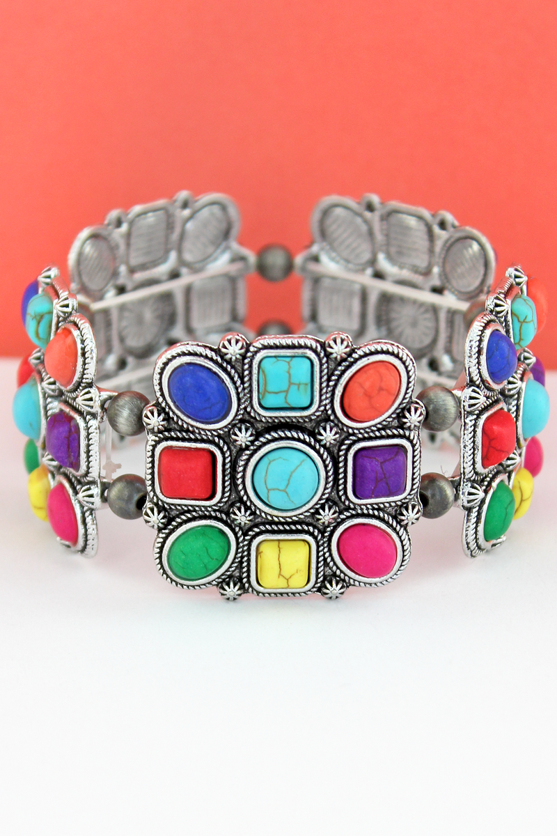 Multi-Color Geo Beaded Square and Navajo Pearl Stretch Bracelet