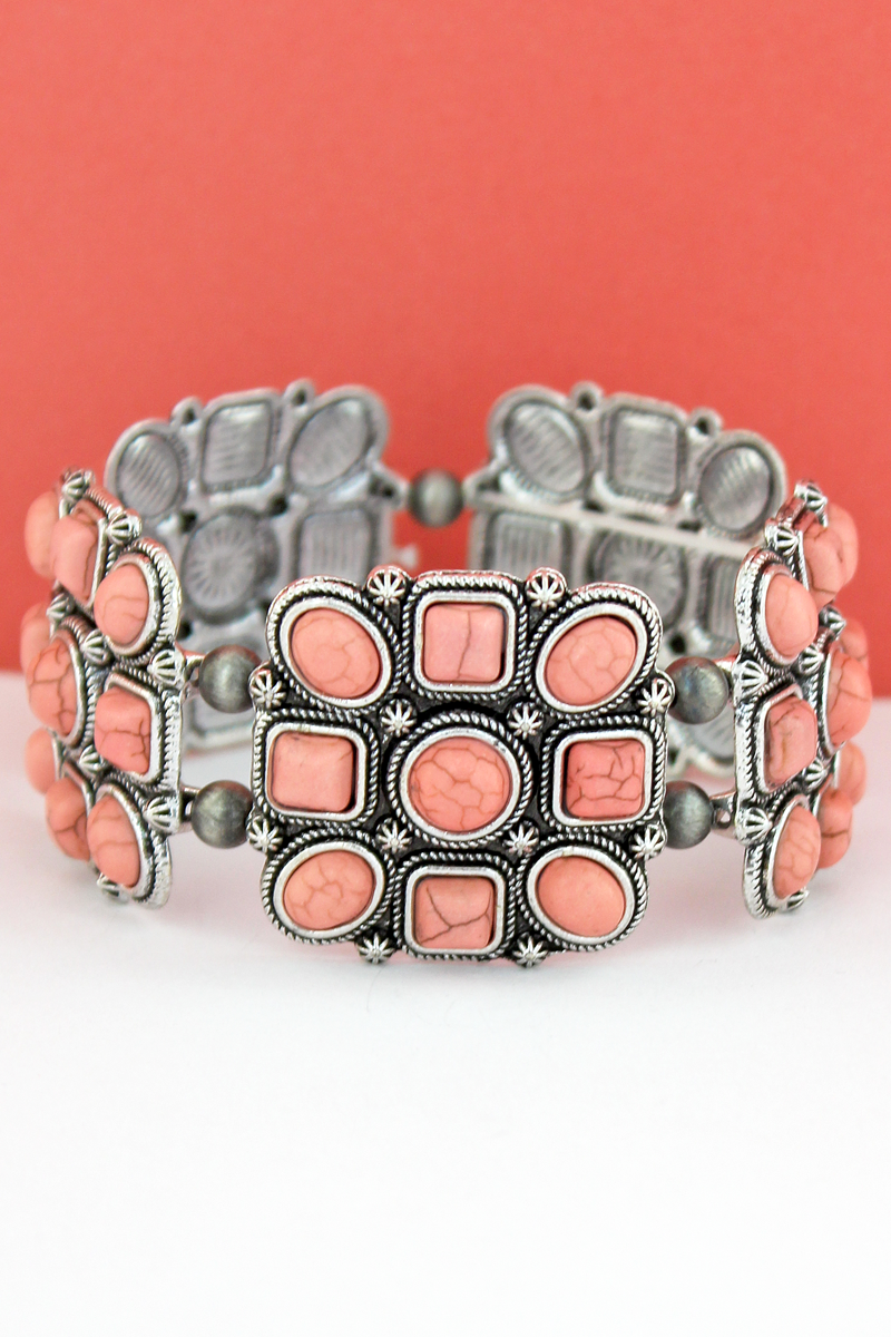 Pink Geo Beaded Square and Navajo Pearl Stretch Bracelet