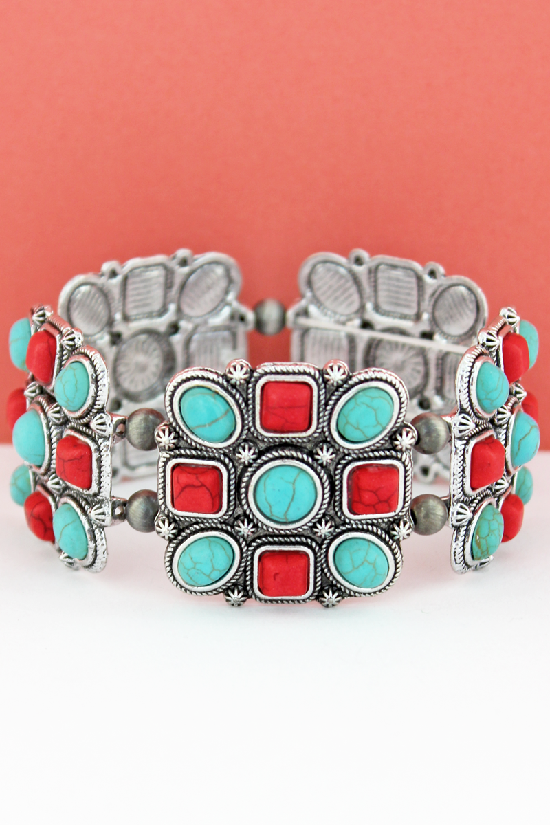 Turquoise & Coral Geo Beaded Square and Navajo Pearl Stretch Bracelet