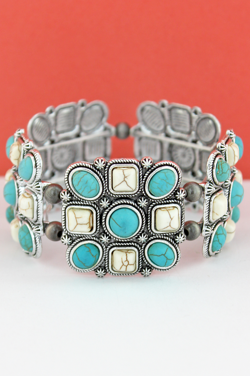 White & Turquoise Geo Beaded Square and Navajo Pearl Stretch Bracelet