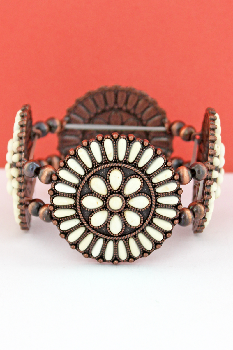 White Stone Beaded Flower Disk and Navajo Pearl Stretch Bracelet
