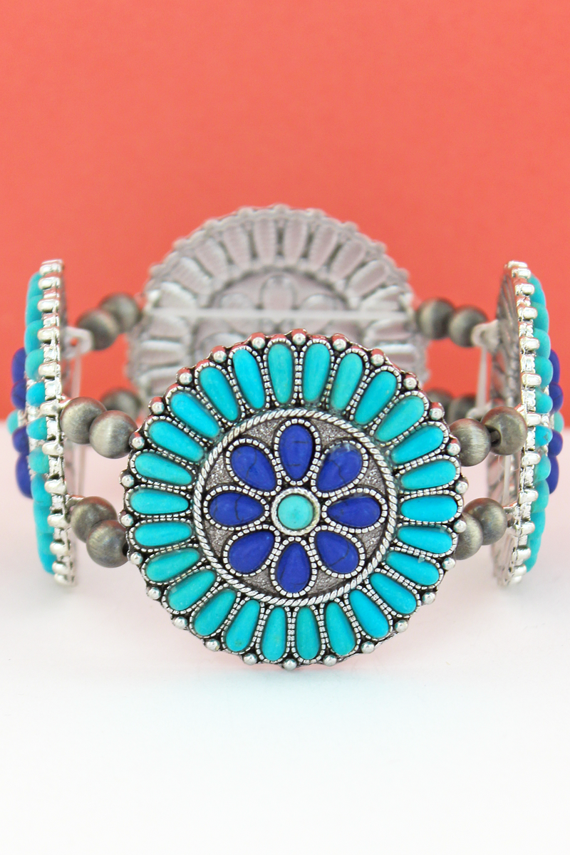 Turquoise & Blue Stone Beaded Flower Disk and Navajo Pearl Stretch Bracelet