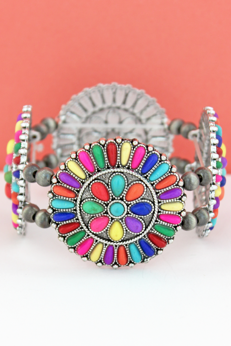 Multi-Color Stone Beaded Flower Disk and Navajo Pearl Stretch Bracelet
