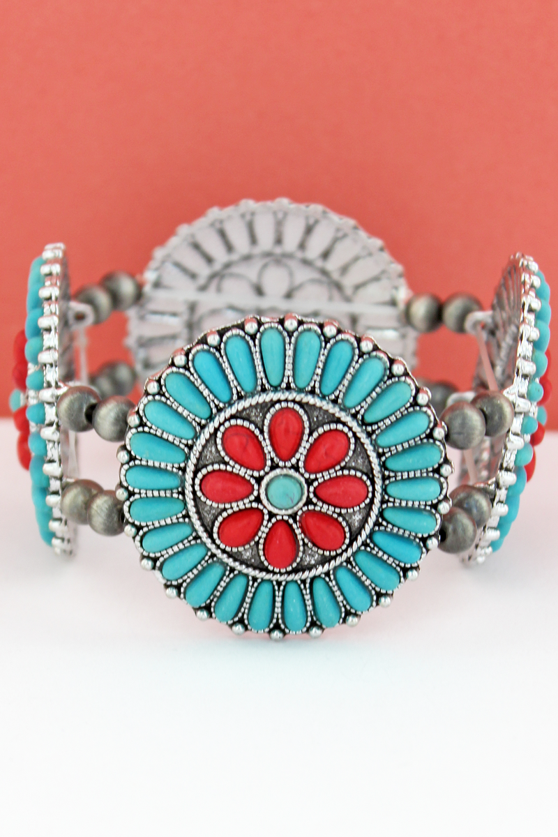 Turquoise & Coral Stone Beaded Flower Disk and Navajo Pearl Stretch Bracelet