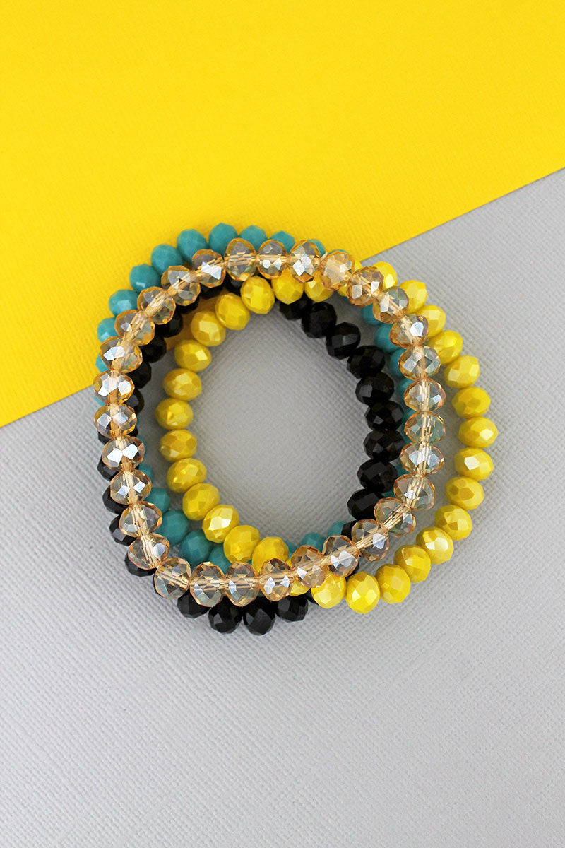 Midnight Sun Faceted Bead Stretch Bracelet Set