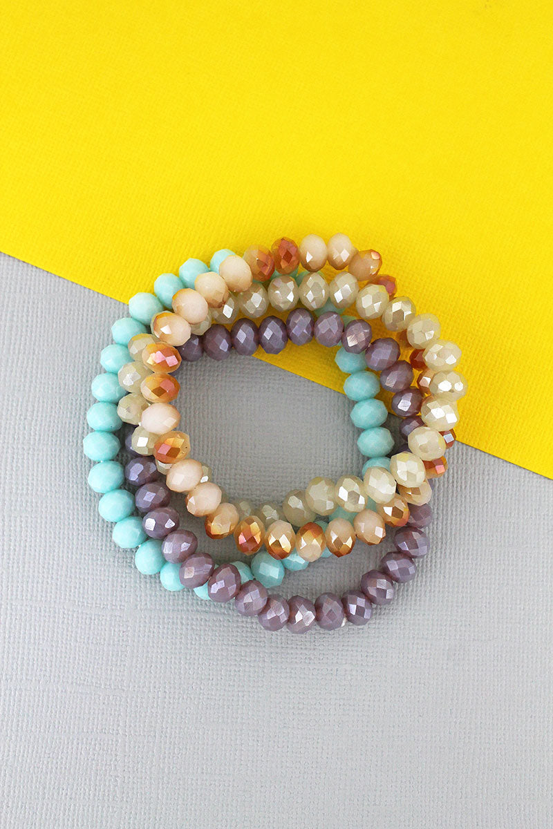 Daydreaming Faceted Bead Stretch Bracelet Set