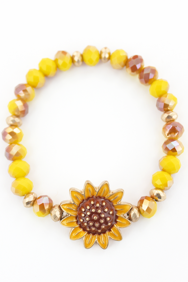 Sunflower Faceted Bead Stretch Bracelet