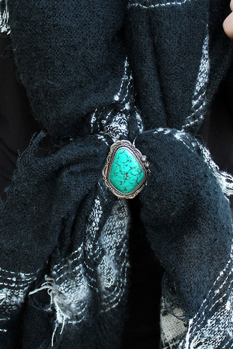 Turquoise Stone and Burnished Silvertone Western Scarf Slide