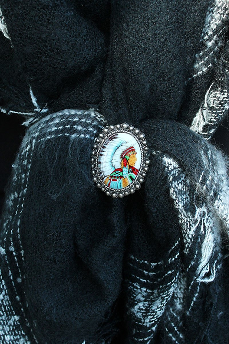 Indian Chief Portrait Scarf Slide