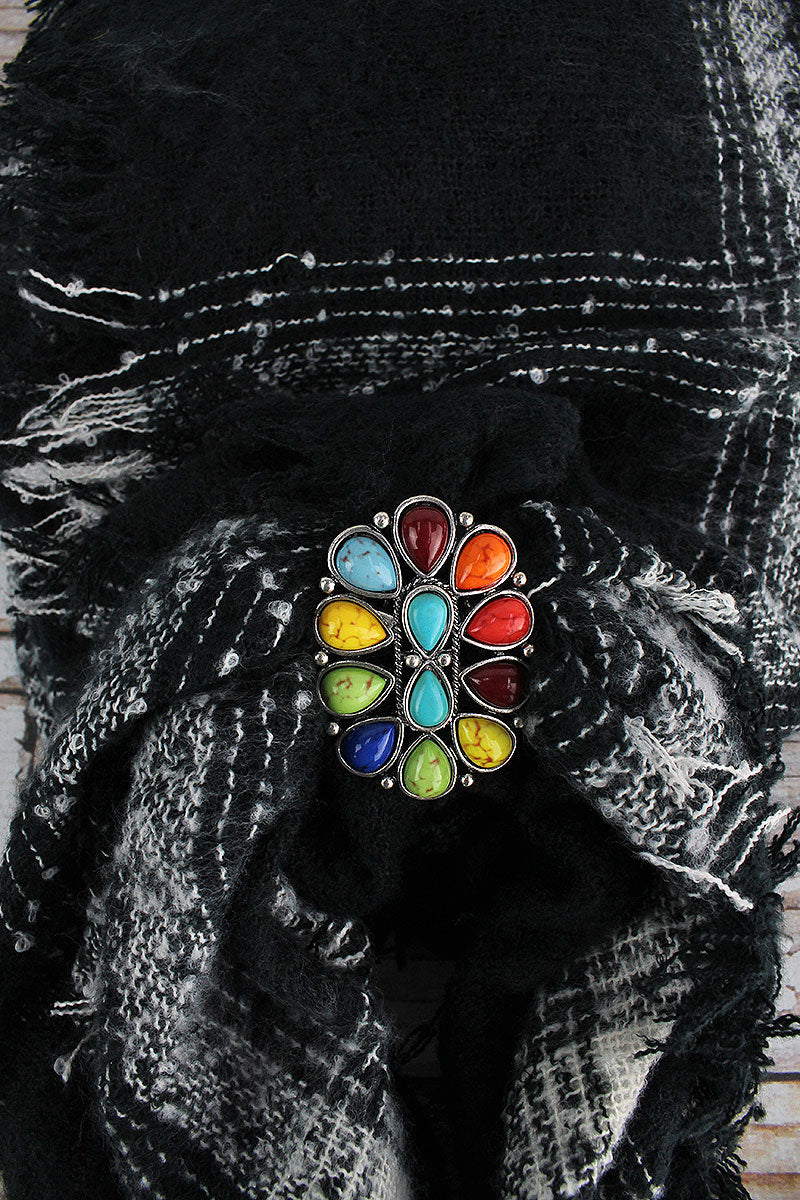 Multi-Color Teardrop Stone Burnished Silvertone Oval Scarf Slide