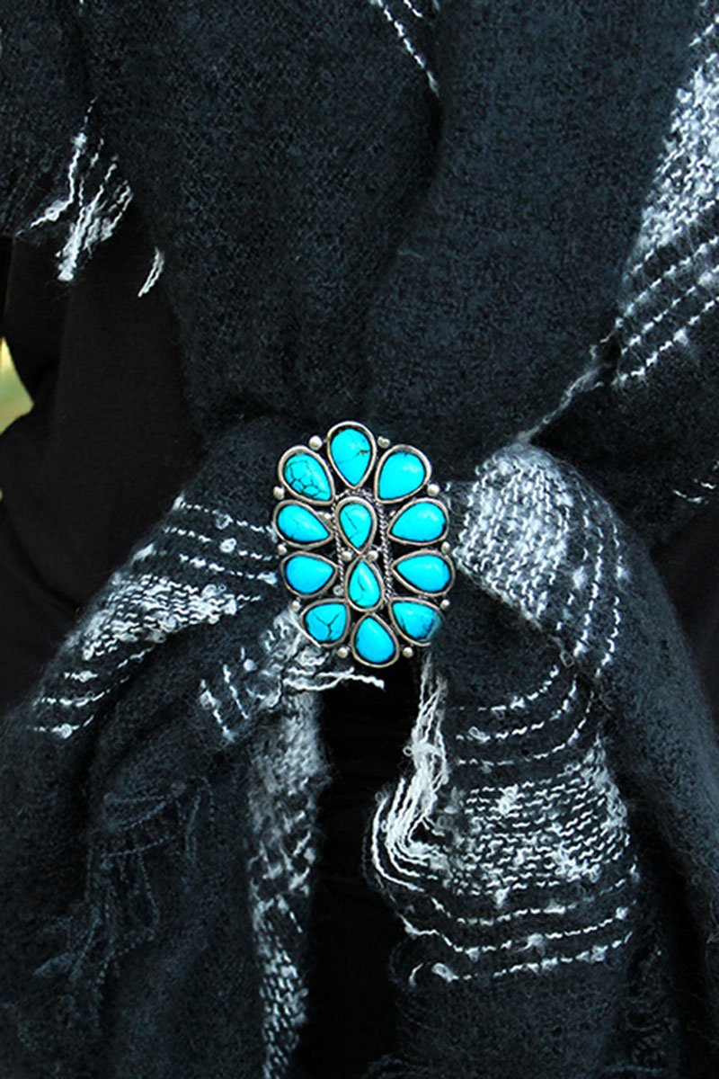 Turquoise Teardrop Stone Burnished Silvertone Oval Scarf Slide