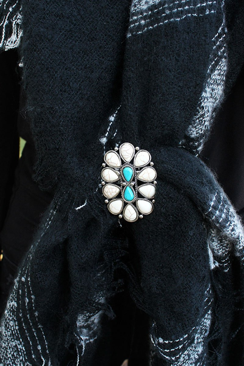 White & Turquoise Teardrop Stone Burnished Silvertone Oval Scarf Slide