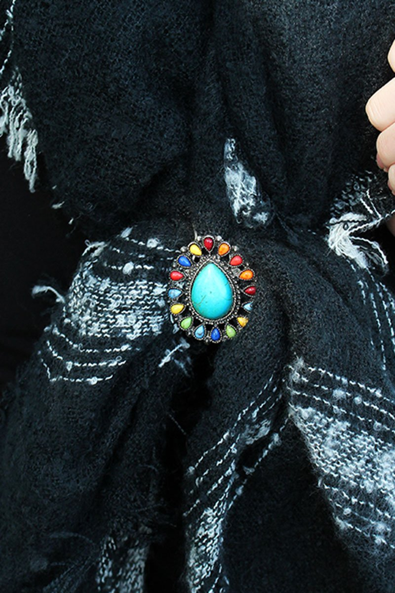 Multi-Color Beaded Burnished Silvertone Teardrop Scarf Slide