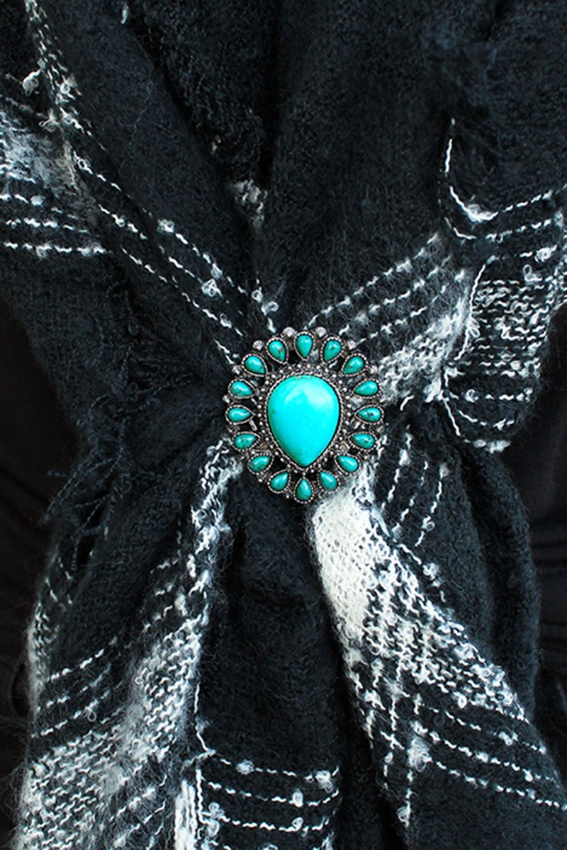 Turquoise Beaded Burnished Silvertone Teardrop Scarf Slide